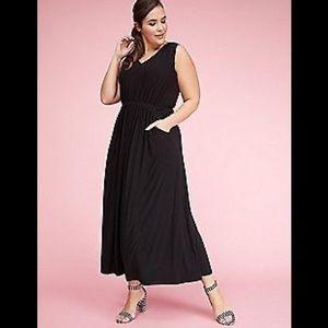 Lane Bryant Crochet Sleeve Black Maxi Dress 18/20